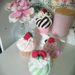 Handmade crochet play cupcakes set