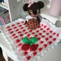 Handmade crochet teddy bear lovey