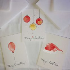 Watercolour Hand Painted Christmas Cards Set of 3