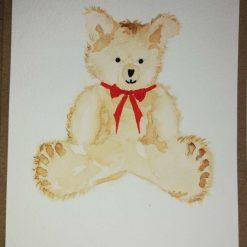 Hand painted Greetings Card Teddy Bear.