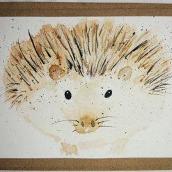 Watercolour hand painted Greetings card, Hedgehog