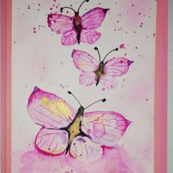Hand painted watercolour Greetings card, three butterflies