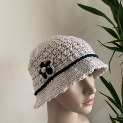 Off-white Bucket Hat with Flower Motive