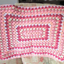 Pink and peach rectangle crochet granny square baby blanket - Free shipping