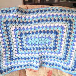 Blue rectangle crochet granny square baby blanket - Free shipping