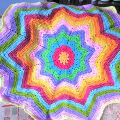 Rainbow crochet star baby or toddler blanket - Free shipping