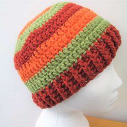 Mens striped crochet beanie hat in autumn colours - Free 1st class shipping