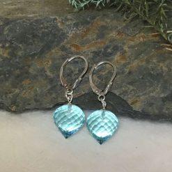 Sky Blue Topaz Gemstone Earrings Silver