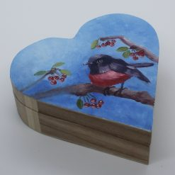 Hand painted wooden box. Red Bird. Perfect for a gift. Box for small things