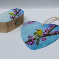 Decoration for kids room. Hand painted box and plywood heart.
