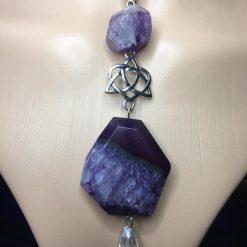 Purple Agate & Amethyst Celtic Pendant