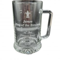 """A Personalised """"King of the Brewery"""" 0.7ltr Glass Tankard in a Blue Cardboard Gift Box"""