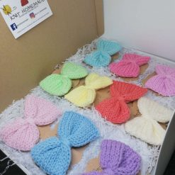 Adult/ Children Pastel Knitted Bow Clip Pack