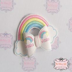 Rainbow Personalised Bow Clip or Headband