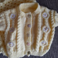 Knitted Baby Cardigan & Blanket