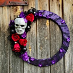 Halloween Decor   Skull Wreath   Halloween Wreath   Gothic Wall Art   Door wreath   Day of the dead   Halloween Decoration   Glitter Skull