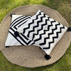 Tufted Cushion Cover Black Pattern (set of 2) 60cm x 60cm