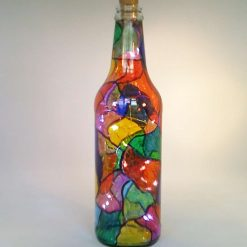 Hand Painted Stained Glass Effect Wine Bottle
