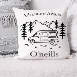 Adventure Awaits Cushion, Wanderlust Cushion, Vanlife Cushion, Camper Cushion, Family Gift, Christmas Gift Active