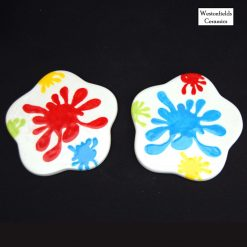 Ceramic Splat Collection Table Coasters x2 Hand Painted Pottery