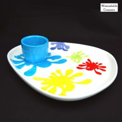 Ceramic Splat Collection Egg And Toast Plate Hand Painted Pottery