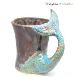 Ceramic Mermaid Tail Handled Mug Hand Painted Pottery