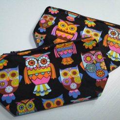 Retro neon owls fabric zipper wash bag, make up bag, project pouch.