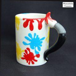 Ceramic Splat Splatter Collection Paintbrush Handled Mug Hand Painted Pottery
