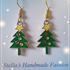 Christmas Tree with yellow Star Alloy Enamel Earrings