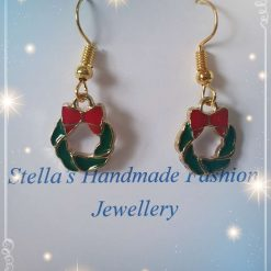 Christmas Wreath with Bowknot Earrings