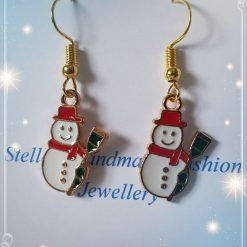 Snowman Alloy Enamel Earrings
