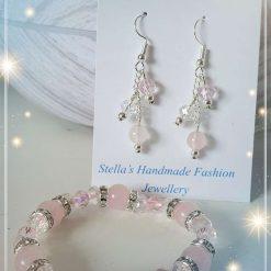 Rose Quartz Crystals Bracelet and Earrings Gift Set for Kids