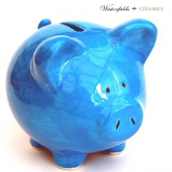 Ceramic Pig Piggy Piglet Money Savings Pot Box Bank Hand Glazed Blue