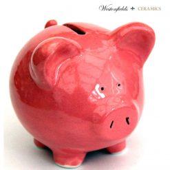 Ceramic Pig Piggy Piglet Money Savings Pot Box Bank Hand Glazed Pink