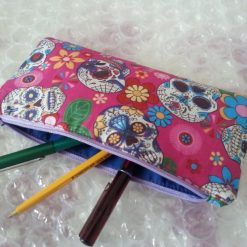 Handmade cotton pencil case, sugar candy skull in blue or pink.