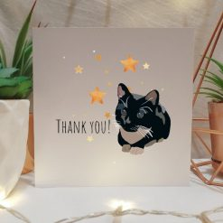 Tabby Cat Thank You Card   Illustrated Cards   Cat Themed Gift   Cute Cat Design