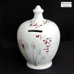 Ceramic Save and Smash Money Savings Pot Box Bank Dandelions and Butterflies Pattern
