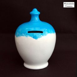 Ceramic Save and Smash Money Savings Pot Box Bank Hand Glazed Blue White