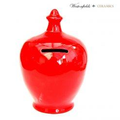 Ceramic Save and Smash Money Savings Pot Box Bank Hand Glazed Red
