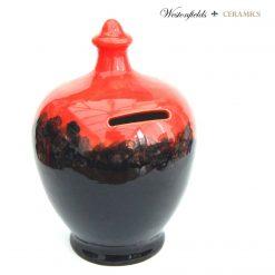 Ceramic Save and Smash Money Savings Pot Box Bank Hand Glazed Red Black