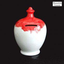 Ceramic Save and Smash Money Savings Pot Box Bank Hand Glazed Red White