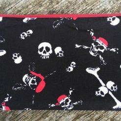 Handmade cotton pencil case, crossbones and skull pirate pencil pen case.