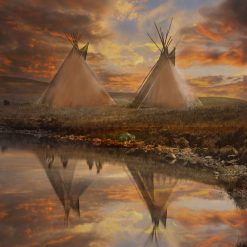 Wall Art of Native American Tepees, Tipis, Art print or Canvas Wrap, Native Culture, Powwow, landscape Art, sunset, wall décor, home décor. Prices start from £30 including free worldwide postage!